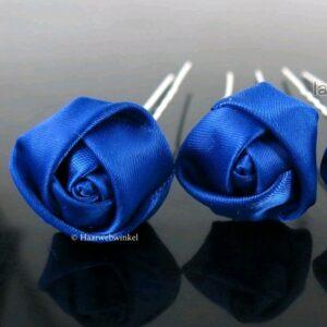 Haarpin Met Zijden Roosje 22mm Kleur Royaal Blauw EBH007-Royaalblauw