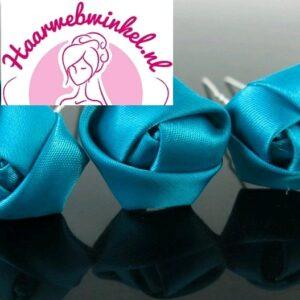 Haarpin Met Zijden Roosje 22mm Kleur Turquoise Blauw EBH007-Blauw