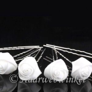 Haarpin Met Zijden Roosje 23mm Kleur Wit EBH007-Wit
