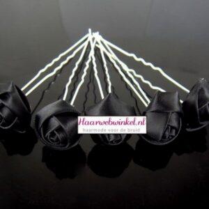 Haarpin Met Zijden Roosje 35mm Kleur Zwart EBH007-Zwart
