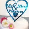 Gepersonaliseerde Taarttopper Mr. & Mrs. Hart Met Achternaam Kleur Blauw : Groen Turquoise TT001-Blauw Groen Spiegelend