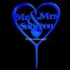Gepersonaliseerde Taarttopper Mr. & Mrs. Hart Met Achternaam Kleur Blauw TT001-Blauw Spiegelend