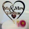 Gepersonaliseerde Taarttopper Mr. & Mrs. Hart Met Achternaam Kleur Mat Goud TT001-Goud Mat