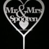 seerde Taarttopper Mr. & Mrs. Hart Met Achternaam Kleur Mat Zilver TT001-Mat Zilver