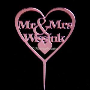 Gepersonaliseerde Taarttopper Mr. & Mrs. Hart Met Achternaam Kleur Roze TT001-Roze Spiegelend