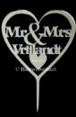 Gepersonaliseerde Taarttopper Mr. & Mrs. Hart Met Achternaam Kleur Zilver TT001-Zilver Spiegelend