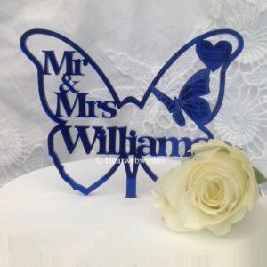 Gepersonaliseerde Taarttopper Mr. & Mrs. Vlinder Met Achternaam Kleur Blauw TT003-Blauw Spiegelend