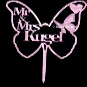 Gepersonaliseerde Taarttopper Mr. & Mrs. Vlinder Met Achternaam Kleur Roze TT003-Roze Spiegelend