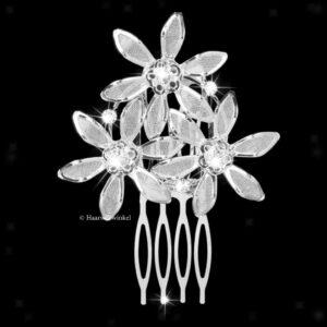 Haarkam Met 3 Bloemen Met Strass Steentjes Kleur Clear EBK016