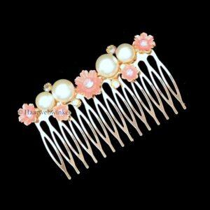 Haarkam Verguld Met Witte Parels en Bloemetjes Kleur Roze EBK102