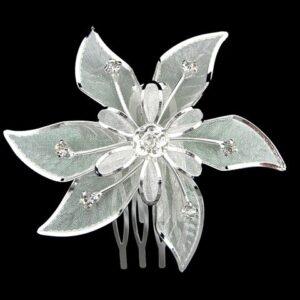 Haarkam Verzilverd Met Bloem Van Oostenrijks Kristal Kleur Clear EBK025
