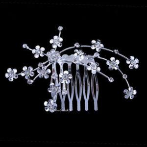 Haarkam Verzilverd Met Bloemetjes Van Tsjechisch Kristal Kleur Clear EBK027