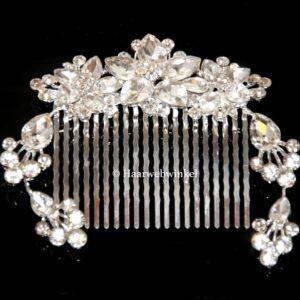 Haarkam Vintage Style Met 3 Bloemen Van Oostenrijks Kristal Kleur Clear EBK098