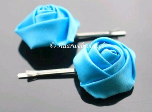 Haarschuifje Zilverkleur Met Roosje Van Zijde Kleur Turquoise WB01- Turquoise