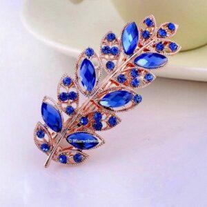 Haarspeld Goudkleur Met Bloemblaadjes Van Strass Steentjes Kleur Blauw EBS18-Blauw