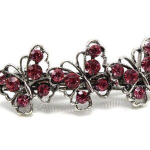 Haarspeld Zilverkleur Met 3 Vlinders Met Strass Steentjes Kleur Roze EBS05-Roze
