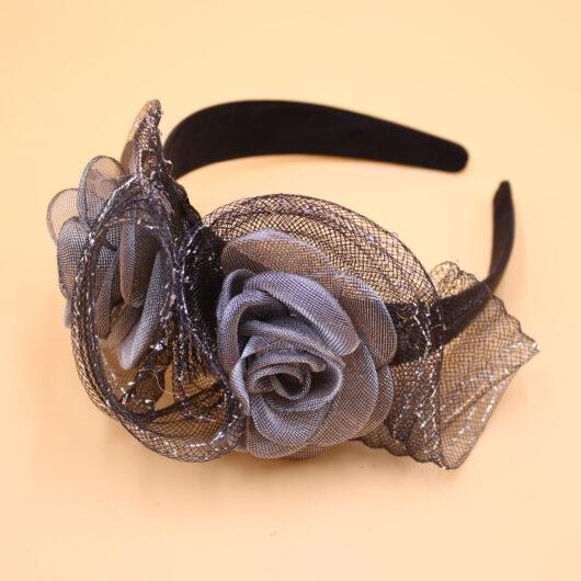 Diadeem Haarbeugel Zwart Satijn Met Bloemen Van Tule Grijs Haarwebwinkel (1)