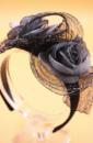 Diadeem Haarbeugel Zwart Satijn Met Bloemen Van Tule Grijs Haarwebwinkel