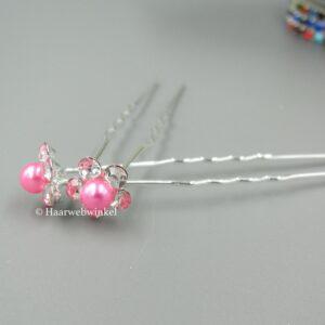 Haarpin Bloem Met Strass Steentjes En Pareltje 10mm Kleur Roze Haarwebwinkel