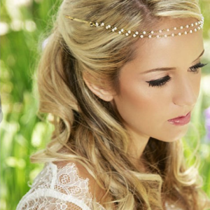 Haarsnoer Haarband Goudkleurig Met 2 Rijen Pareltjes Wit Bohemian Retro Ibiza Style Haarwebwinkel
