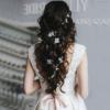 Haarsnoer Nylon 100cm Met Witte Bloemen En Parels Wit