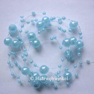 Haarsnoer Nylon 130cm Met Parels Lichtblauw Haarwebwinkel