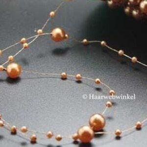 Haarsnoer Nylon Met Parels Mokka Bruin +:-100cm Haarwebwinkel