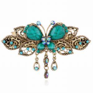 Haarspeld Bronskleur Met Vlinder Kleur Turquoise Haarwebwinkel
