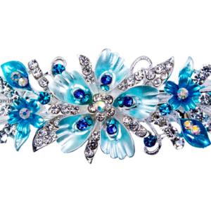 Haarspeld Zilverkleur Met Bloemen En Strass Kleur Blauw Turquoise Haarwebwinkel