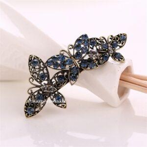 Haarspeld Zilverkleurig 3 Vlinder Met Strass Kleur Blauw Haarwebwinkel