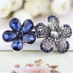 Haarspeld Zilverkleurig Met 2 Bloemen Met Strass Kleur Blauw Haarwebwinkel