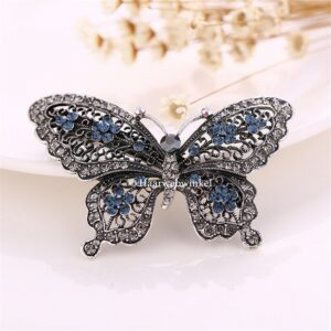 Haarspeld Zilverkleurig Vlinder Met Strass Kleur Blauw Haarwebwinkel (1)