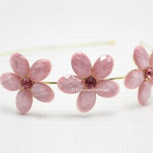 Tiara Diadeem Verguld Met 3 Roze Bloemen Haarwebwinkel