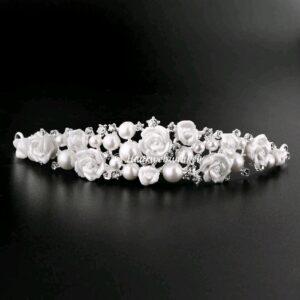 Tiara Verzilverd Oostenrijks Kristal Met Bloemen En Parels Wit Haarwebwinkel