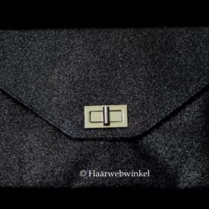 Bruidstasje Avondtasje Enveloptasje Satijn Kleur Zwart Haarwebwinkel