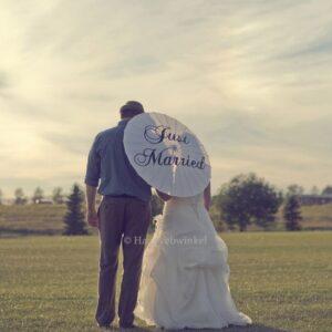 Handgemaakte Bruidsparasol Just Married Haarwebwinkel