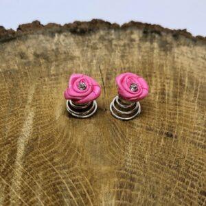 Curlie Stoffen Roosje Met Strass Steentje 12mm Kleur Roze Haarwebwinkel